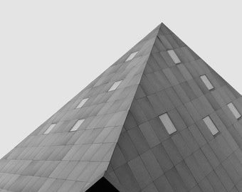 Angles, Black and White Photography, Modern Architecture Print, Minimalist Geometric, Pyramid Triangle, City Wall Decor