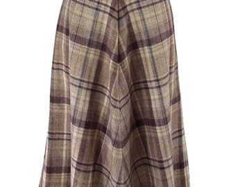 Vintage 70s Brown Blue Taupe Plaid A-Line Skirt - sm