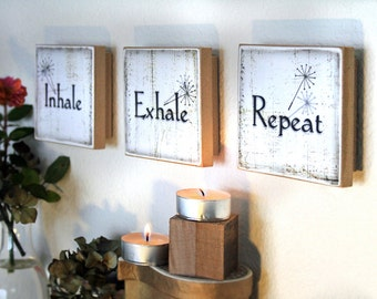 Meditation Peace Inspirational Yoga Zen Inhale Exhale Repeat Mini Block wall tiles set of 3