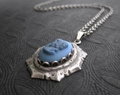 Glass Cameo Pendant Dark Blue Lady Profile Antique Silver Plated Framed Vintage Cameo 18 Inch Chain Classical Cameo Pendant Art Deco Jewelry
