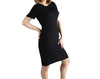 50s 60s Dress, L'Aiglon, Mad Men, Wiggle Dress, Black, Dauphine