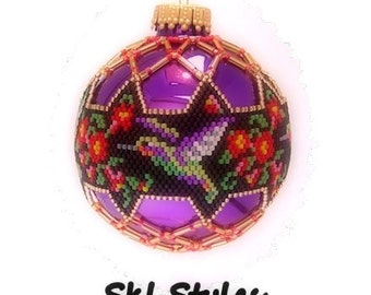 Hummingbirds - woven Delica beaded Christmas Ornament