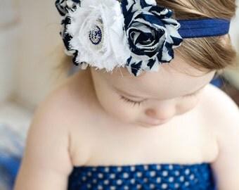 Nautical Shabby Flower Trio Headband With Sparkle Anchor - Beach Photo Prop - Newborn Baby Navy Hair Accessories - Little Girls Hair Bow
