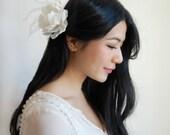 Bridal Hair Flowers, Bridal Hairpiece, Ivory Silk Peony