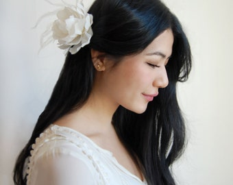 Bridal Hair Flowers, Bridal Hairpiece, Ivory Silk Peony
