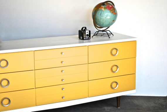 Reserved Mid Century Modern Dresser Yellow And White Painted