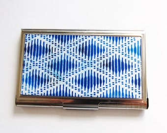 Business Card Case, Card case, business card holder, Card case for her, Blue case, Blue, Indigo, Abstract Pattern (3232)