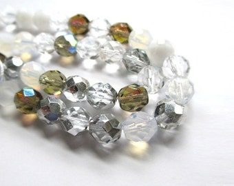 8mm Czech Glass Beads, AB Aurora Borealis Fire Polished Beads, Frosted White Gray Ghost Crystal Clear Faceted Glass Crystals 25 Pieces SP528