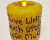 Gold Grubby Tea Light Pillar Candle, Hand Poured Live Laugh Love Saying Candle