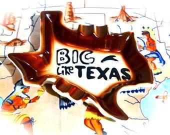Vintage Ashtray Tobacciana Texas Cowboy Man Cave // Big Like Texas Souvenir Collectible 1950's Western Cowboy Home Decor