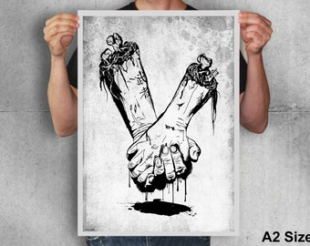 Zombie hands, skull, bone, black and  white, creepy, horror, blood, goth, art, poster