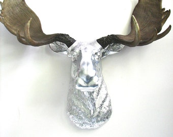 Faux Taxidermy Large Moose Head Wall Hanging Mount Home Decor: Max the Moose in metallic silver with natural-looking antlers