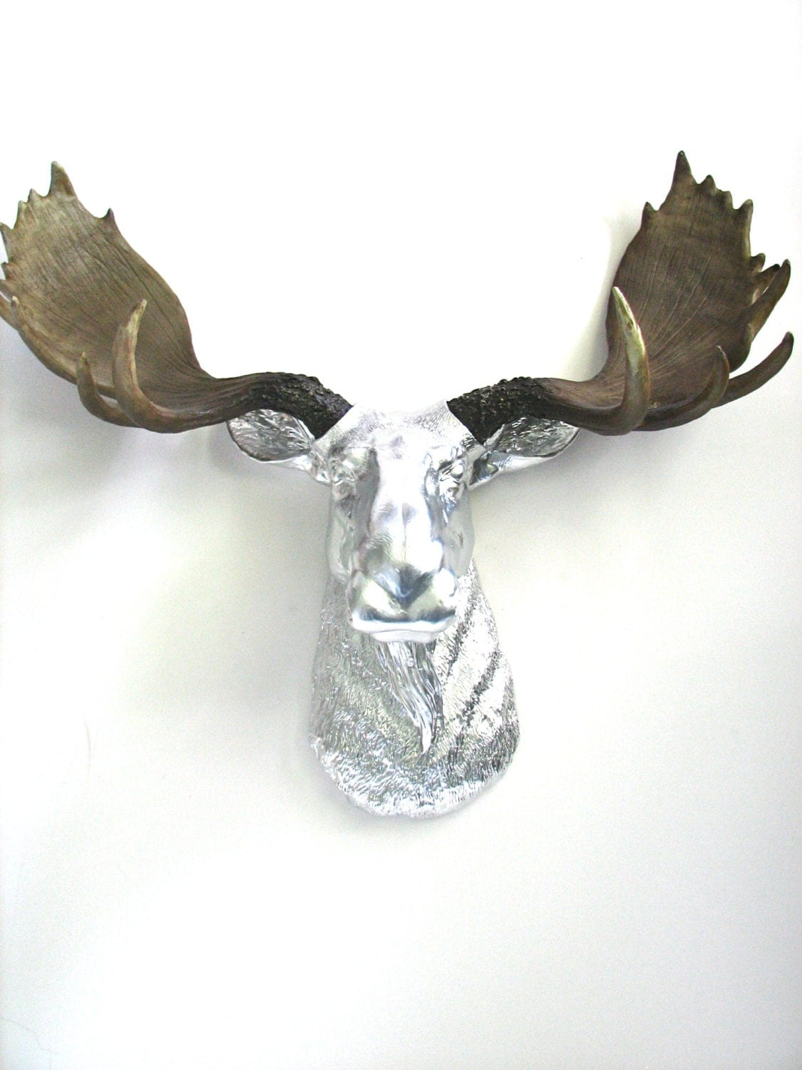 Faux taxidermy large moose head wall hanging mount home decor - Fake moose head mount ...