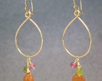 Hammered Earrings with pink tourmaline, peridot, carnelian Aphrodite 3