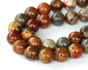 Natural Red Creek Jasper Beads, 10mm Round - 15 inch Strand - eGR-JA011-10