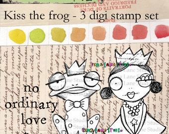 Whimsical princess and frog digi stamp set with quote