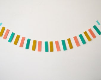 Nursery Wall Art Garland Teal Pink Yellow