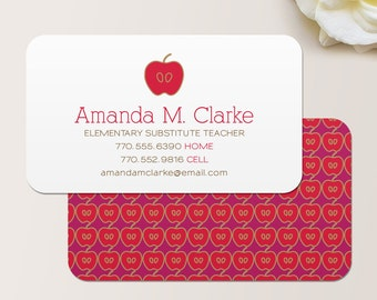 Teacher Business Card / Calling Card / Mommy Card / Contact Card - Teacher, Substitute Teacher, Tutor, Instructor, Business Cards