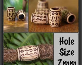 12 Antique Style Acrylic DREADLOCK BEADS 7mm Hole Dread Hair Beads NEW