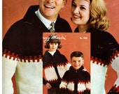 Vintage Mary Maxim Cardigans for Man Woman and Child - Adult and Childrens Pattern