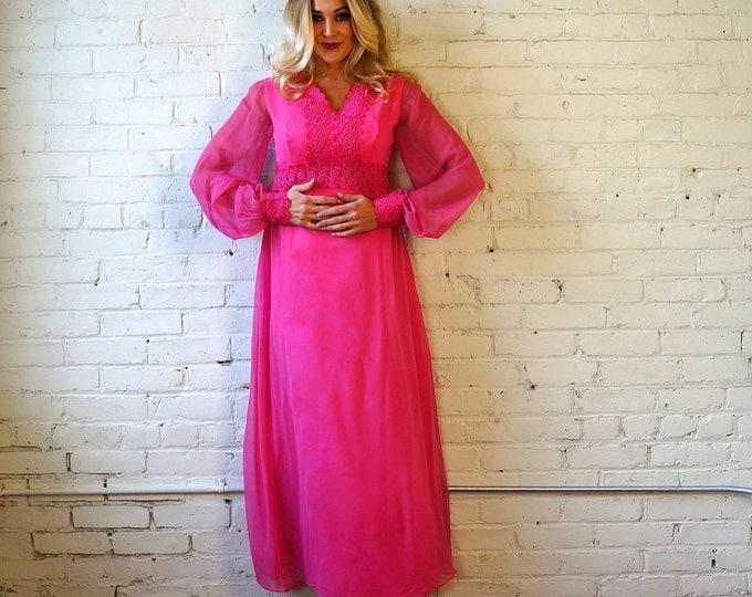 Pink Passion 1970s Vintage Watermelon Chiffon Bohemian Gown MEDIUM Romantic Renaissance Hippie Maxi Dress Poetic Bishop Sleeves Formal Prom