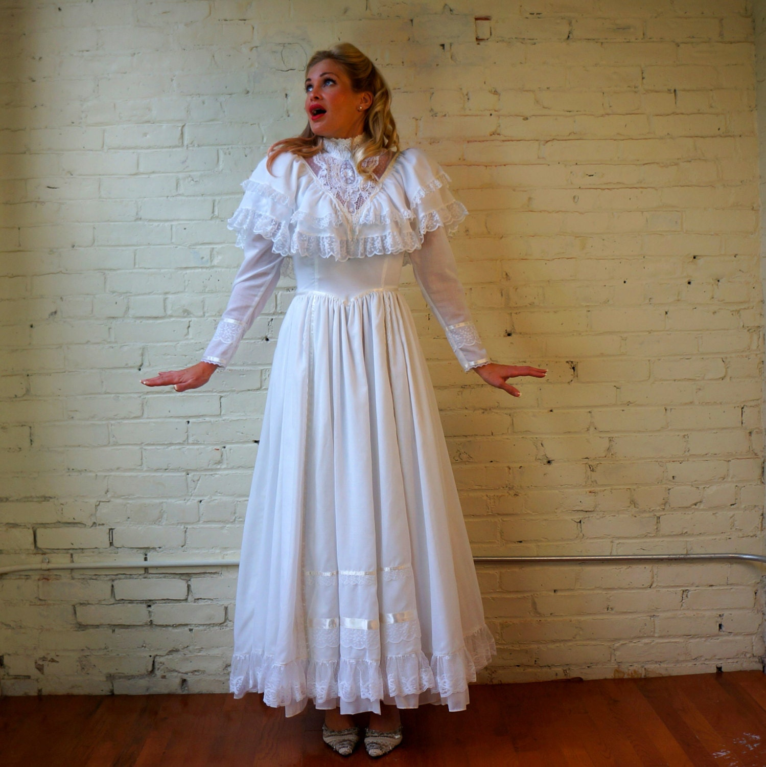 peasant wedding dress s vintage peasant style wedding dress Romantic Renaissance Bridal zoom