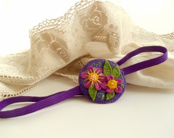 Felt floral headband, Purple hair accessory Embroidered headband for women, Gift for teen girls