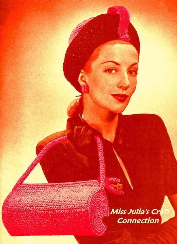 Vintage 1940s Cosmopolitan Hat & Handbag Set 284 PDF Digital Crochet Pattern