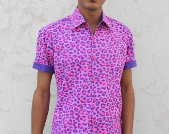 Leopard shirt for men, short sleeve - Pink Leopard