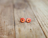 A Little Citrus - Mixed Media Post Earrings featuring orange tulip photograph on polymer clay