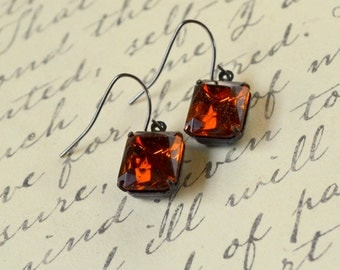 Brown Topaz Rhinestone Drop Earrings Downton Abbey Vintage Edwardian Faceted Glass Rectangle Earth Tones Dangle Dark Antique Free Shipping