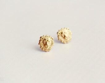 roar - lion head earring studs - dainty, delicate, minimalist raw brass jewelry, gift for her