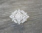 Oval Art Deco Crystal Brooch, Swarovski Crystal Oblong Brooch, Diamante Wedding Brooch, Bridal Pin, Oval Crystal Bridal Brooch