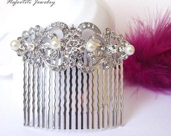 wedding hair comb, pearl hair comb, vintage bridal hair comb, bridal hair accessories, crystal hair comb, wedding hair piece, hair jewelry