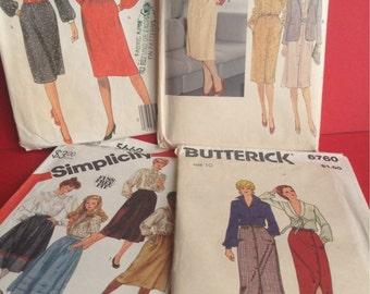 80s Career Woman Patterns, dress/jacket/skirt, set of 4, McCall's, Vogue, Butterick, Simplicity, original, sewing supplies, Greece