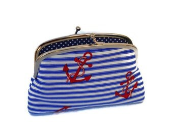 Large nautical coin purse - red white and royal blue metal frame wallet with 2 compartments and polka dots