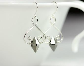 Metallic Grey Earrings Wire Wrapped Jewelry Handmade Sterling Silver Jewelry Handmade Swarovski Crystal Earrings Swarovski Crystal Jewelry