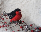 Needle Felted Bullfinch, Needle Felted Robin, Felt Bird, Red Bird, Handmade bird - READY TO SHIP