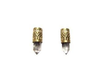 LIGHT TIBETAN QUARTZ - Earrings, Ghost Quartz, Phantom Quartz, Tibetan Quartz, Filigree Earrings, Recycled Brass, Quartz Earrings, Vintage