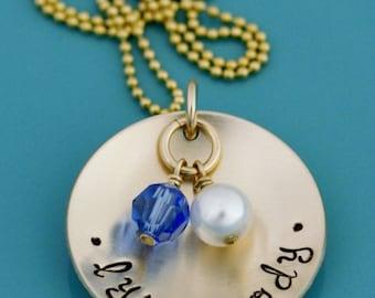 Hand Stamped Gold Birth Stone Necklace, Kids Names Engraved Gold Pendant, Gold Stamped Necklace, Handstamped Gold Childrens Name Pendant