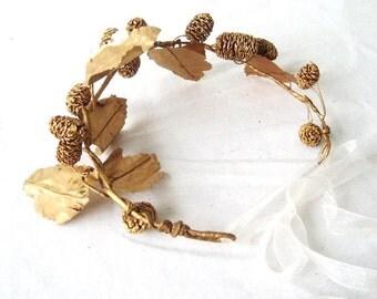Golden Leaf  Crown Wedding Hair Wreath Bridal Headpiece Greek Goddess Costume Glamour Grecian Winter Bride