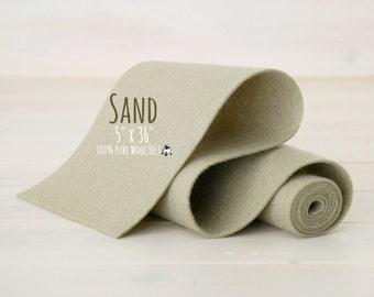 "100% Merino Wool Felt - 5"" x 36""  Wool Felt Roll - Wool Felt  Color Sand-7060 - European Wool Felt - Sand color wool felt - Merino wool felt"