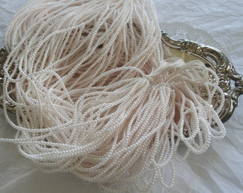 Vintage PALE BLUSH Pearl Bead Strings, Faux Pearls, 2.5mm