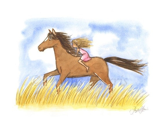 Convey Your Little Girl S Personality Through Her Bedroom: Wall Art For Kids Free As The Wind Little Girl On Horse