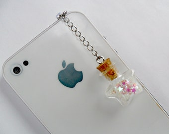 Fairy Kei Glitter Wishing Stars Bottle Phone Charm, For iPhone or iPod, Dust Plug or Cell Phone Strap, Cute, Kawaii :D