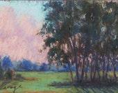 "Original Pastel Landscape Painting, sunset, summer scene, clouds, miniature -  ""Sunset Through The Trees"" by pastel artist Colette Savage"