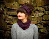 Classic knitted snood in purple, made from a lambswool blend yarn- infinity scarf . Handmade