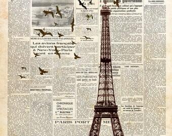Eiffel Tower on newspaper. Paris. Wall decoration print. 8x10. FREE SHIPPING.