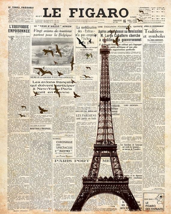 eiffel tower on newspaper paris wall decoration print 8x10. Black Bedroom Furniture Sets. Home Design Ideas