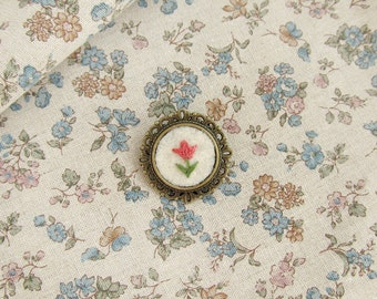 Pink Tulip Embroidered Brooch on Cream